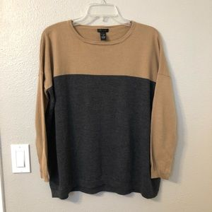 Merino Wool Tan and Grey Sweater by Only Mine